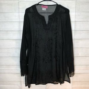 Beautiful Black Light Embroidered Sheer Blouse